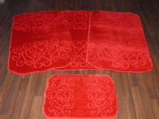 ROMANY WASHABLES LOVE HEARTS SUPER THICK DESIGN 4PC SET RED NON SLIP MATS RUGS